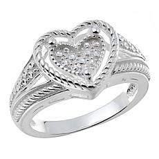 Sevilla Silver™ Diamond Press Heart Ring