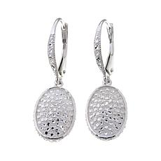 Sevilla Silver™ Diamond-Pressed Oval Drop Earrings