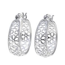 Sevilla Silver™ Floral Filigree Hoop Earrings