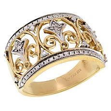 Sevilla Silver™ Gold-Plated Diamond-Accented Band Ring