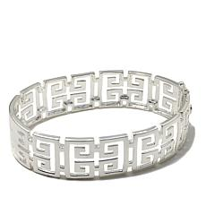 Sevilla Silver™ Greek Key Oval Bangle Bracelet
