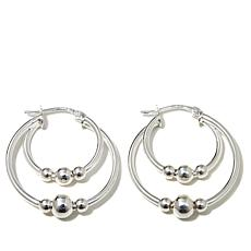 Sevilla Silver™ Multi-Row Beaded Hoop Earrings