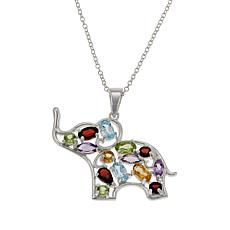 "Sevilla Silver™ Multigem Elephant Pendant with 18"" Chain"