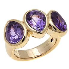 Sevilla Silver™ Pear-Shaped Amethyst 3-Stone Ring