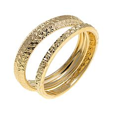 Sevilla Silver™ Set of 2 Diamond-Cut Stackable Rings