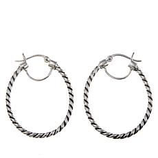 "Sevilla Silver™ ""Shades of Black"" Oval Hoop Earrings"