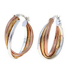 Sevilla Silver™ with Technibond® Tricolor Hoop Earrings
