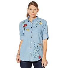 Sheryl Crow Embroidered Denim Shirt