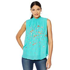 Sheryl Crow Embroidered Mock Neck Blouse