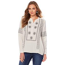 Sheryl Crow Embroidered Woven Tunic Blouse