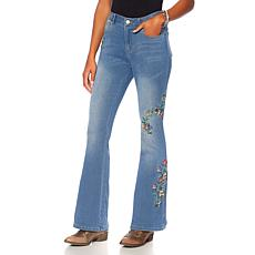 Sheryl Crow Floral Embroidered Flare Jean