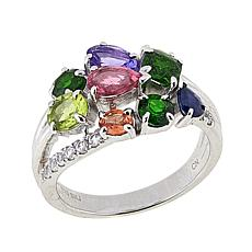 Sheryl Jones 2.19ctw Multigem Sterling Silver Ring