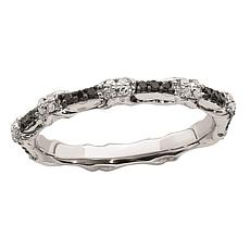 Simply Stacks™ Sterling Silver Black & White Diamond Bar Band Ring