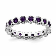 Simply Stacks™ Sterling Silver Gemstone Bezel-Set Eternity Stack Ring