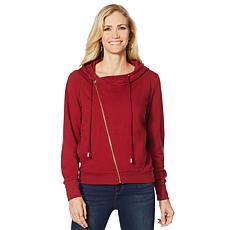 Skinnygirl Asymmetric Zip-Up Hooded Sweatshirt