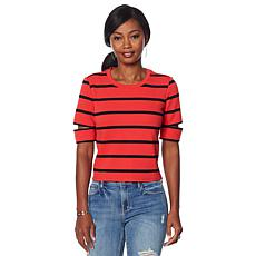 Skinnygirl Catherine Striped Slit-Sleeve Tee