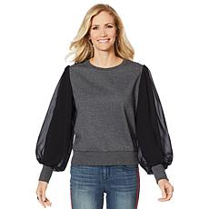 Skinnygirl Chiffon-Sleeve French Terry Sweatshirt