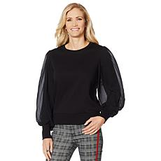 Skinnygirl Chiffon-Sleeve French Terry Sweatshirt