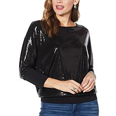 Skinnygirl Spicy Sequined Doman-Sleeve Top