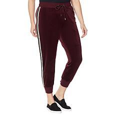 Skinnygirl Velour Metallic Stripe Jogger Pant