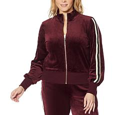 Skinnygirl Velour Metallic Stripe Zip-Front Jacket
