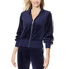 Skinnygirl Velour Metallic Stripe Zip-Front Jacket