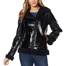 Skinnygirl Wheatley Faux Shearling Moto Jacket