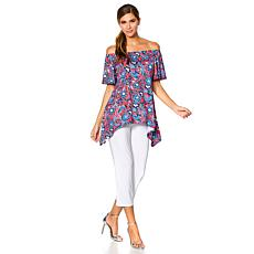 Slinky® Brand 2pc On/Off-Shoulder Tunic and Cropped Pant