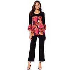 Slinky® Brand 2pc Print/Solid Colorblock Tunic and Pant