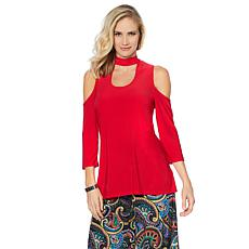 Slinky Brand 2pk 3/4-Sleeve Cold-Shoulder Mock-Neck Tunics