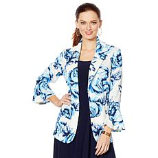 Slinky® Brand 3/4 Bell-Sleeve Printed Textured Collared Jacket