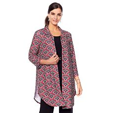 Slinky® Brand 3/4 Bell-Sleeve Printed Textured Shirt Jacket