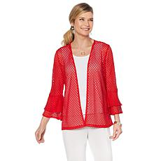 Slinky® Brand 3/4 Double Flounce-Sleeve Crochet Jacket