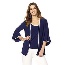 Slinky® Brand 3/4 Flare-Sleeve Jacket with Contrast Binding