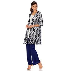 Slinky® Brand 3/4-Sleeve 2-Tone Lace Duster