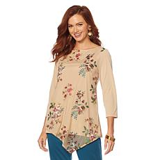Slinky® Brand 3/4-Sleeve Embroidered Overlay Tunic