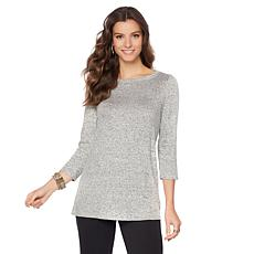 Slinky® Brand 3/4-Sleeve Mélange-Knit Top
