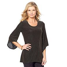 Slinky® Brand 3/4-Sleeve Metallic Knit Tunic