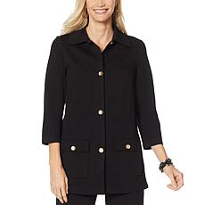Slinky Brand 3/4-Sleeve Ponte Safari Jacket with Pockets
