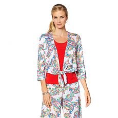 Slinky® Brand 3/4-Sleeve Print Tie-Front Cropped Jacket