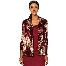Slinky® Brand 3/4-Sleeve Printed Velvet Jacket