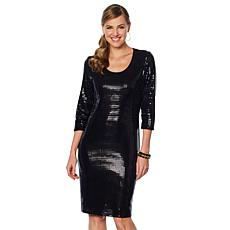 Slinky® Brand 3/4-Sleeve Sequin Dress