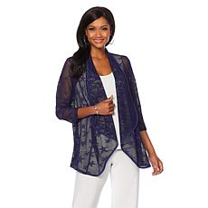 Slinky® Brand 3/4-Sleeve Star Stretch Crochet Jacket