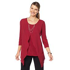 Slinky® Brand 3/4-Sleeve Tunic with Chiffon Overlay