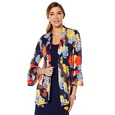 Slinky® Brand Bell-Sleeve Drape-Front Printed Jacket