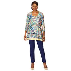 Slinky® Brand Border-Print Long Tunic and Skinny Pant