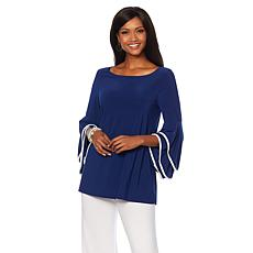 Slinky® Brand Double Flounce-Sleeve Knit Tunic with Binding