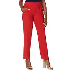 Slinky® Brand Flat Front Tapered Pant with Pockets