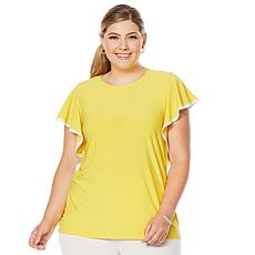 Slinky® Brand Flutter-Sleeve Tunic with White Binding
