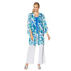 Slinky® Brand Hi-Low Sleeve Printed Duster with Side Slits